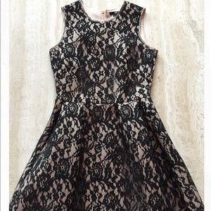H&M Black Lace Nude Neoprene Dress